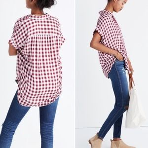 Madewell Red Gingham Check Central Button Down Top